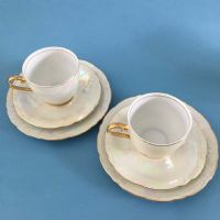 Bone China - Lustre Trio x 2 - Czech - 30s 40s